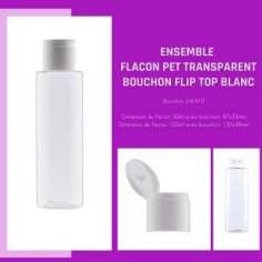 Flacon PET Transparent bouchon Flip top Blanc